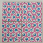 4 Ceramic Coasters in Cath Kidston Mini Provence Rose Fuschia